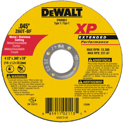 DeWALT -  4-1/2 X .045 X 7/8 XP CUTOFF WHEEL - DW8851