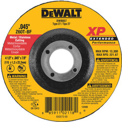 DeWALT -  4-1/2 X .045 X 7/8 XP DC CUTOFF WHEEL - DW8857