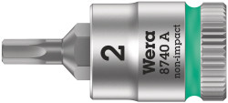 """Wera 05003330001 - 8740 A Zyklop Bit Socket With 1/4"""" Drive With Holding Function , 2,0 X 28 Mm"""