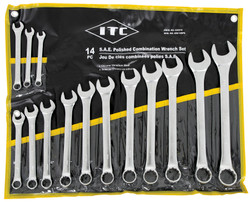 ITC 020210 - (ICW-14PS) 14 PC S.A.E. Polished Combination Wrench Set