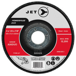 Jet 500445 - 9 x 1/8 x 7/8 A30DUO POWERPLUS DUO T27 Cutting/Grinding Wheel