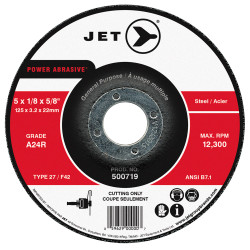 Jet 500719 - 5 x 1/8 x 5/8 A24R POWER ABRASIVE T27 Cut-Off Wheel