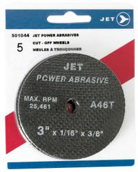 Jet 501044 - 3 x 1/16 x 3/8 A60T POWER ABRASIVE T1 Cut-Off Wheel (5/Pack)