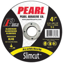 Pearl CW0632ALM - 6 X .045 X 7/8 Slimcut T-1 Aluminum Thin Cut-Off Wheels, A36, Box Of 25