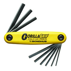 Bondhus 12589 - 9 Piece Hex GorillaGrip Fold-up Tool - Sizes: 5/64-1/4""