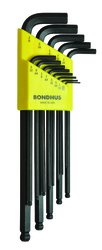"Bondhus 16037 - 13 Piece Ball End L-Wrench Set, Extra Long Arm - Sizes: .050-3/8"""