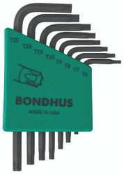 Bondhus 31732 - 8 Piece Torx L-wrench Set, Short Arm - Sizes: T6-T25