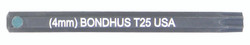 "Bondhus 32025 - T25 ProHold Torx Bit, 2"" Length - Stock Size: 4mm"
