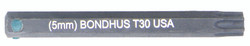 "Bondhus 32030 - T30 ProHold Torx Bit, 2"" Length - Stock Size: 5mm"