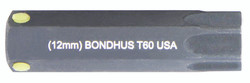 "Bondhus 32060 - T60 ProHold Torx Bit, 2"" Length - Stock Size: 12mm"