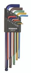"""Bondhus 69637 - 13 Piece ColorGuard Ball End L-Wrench Set - Extra Long Arm (.050-3/8"""")"""