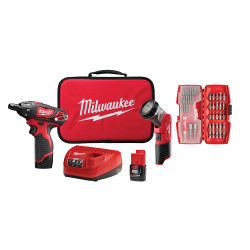 Milwaukee 2482-22 - M12 12-Volt Lithium-Ion Cordless 1/4 in. Hex Screwdriver/LED Worklight Kit W/ (2) 1.5Ah Batteries,Bit Set & Bag