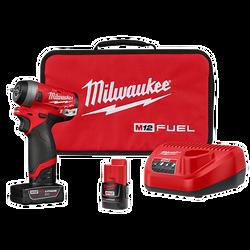 "Milwaukee 2552-22 - M12 FUEL 1/4""  Stubby Impact Wrench  Kit"