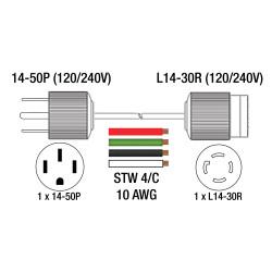King Canada K-1450P-2 - 1.5 ft. 50 Amp. generator adaptor cord