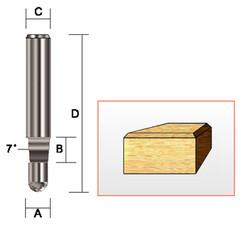 "Kempston -   Bevel Trim Bit, SC, 1/4"" x 1/4"" x 7D - 159011"