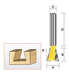 "Kempston -   Dovetail Bit, 1/4"" x 5/16"" x 7.5D - 206006"