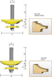 Kempston -   Miniature Raised Panel Bit w/back cutter, Ogee - 403415B
