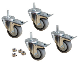 17201 3-Inch TPR Swivel Dual Lock Caster Kit, 4 Pack