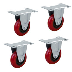 17207 3-Inch Fixed Polyurethane Plate Caster, Red, 4-Pack