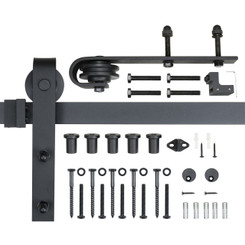 BDR1003 8-Foot Heavy Duty Barn Door Hardware Kit, Black, 100,000 Rolls Tested, One-Piece Rail