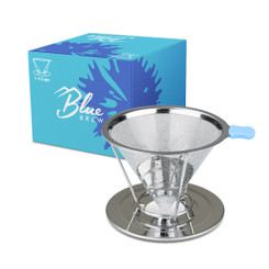 Blue Brew Stainless Steel Double-Filtered Pour Over Coffee Dripper with Separated Stand