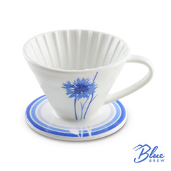 Blue Brew Ceramic Coffee Dripper Cornflower, 1-4 Cups
