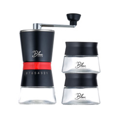 Blue Brew BB1007 Pro Ceramic Burr Manual Coffee Grinder with 2 Airtight Canisters | Features 15 presets for Precise Adjustable Grind | Grinder Burr Style | Durable and Sustainable Ceramic and Stainless Steel Build