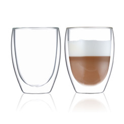 BLUE BREW BB1010 Double Wall Glass | 12 oz Espresso Cups Set of 2 | Insulated Coffee Shot Glasses – Artisan Glassware