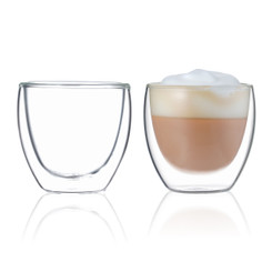 BLUE BREW BB1018 Double Wall Glass | 2.5 oz Espresso Cups Set of 2 | Insulated Coffee Shot Glasses – Artisan Glassware