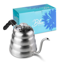 Blue Brew BB1201 Pour Over Kettle with Thermometer and Glass Lid Top | 40 fl oz (1.2 liter) Gooseneck Stainless Steel Kettle | Coffee Accessories Premium Edition
