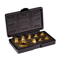 71220 10 Piece Solid Brass Template Guide Kit with Adaptor | CNC Precision Ground | Router Guide for Templates | Includes 7 Router Guides and 2 Lock Nuts and Adaptor