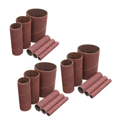 11240 4.5 Inch Sanding Sleeves for Spindle Sander in 6 Sizes with Assorted Grits 80, 120, 240 | Aluminum Oxide Sandpaper Sanding Sleeve Assortment in Dia. 1/2, 3/4, 1, 1-1/2, 2 & 3 - 18 PK