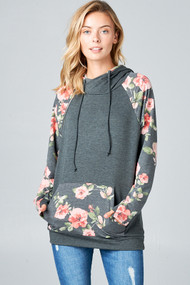 The Jocelyn Hoodie- Floral/Charcoal