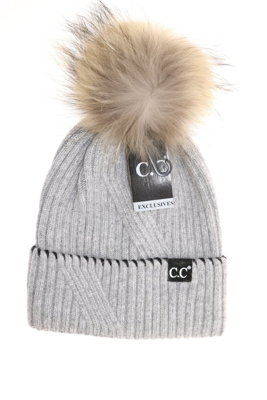 ... C.C. Black Label Special Edition Ribbed Cuffed Beanie- Grey. Image 1 f22efad05f7
