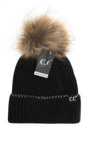 C.C. Black Label Special Edition Ribbed Cuffed Beanie- Black