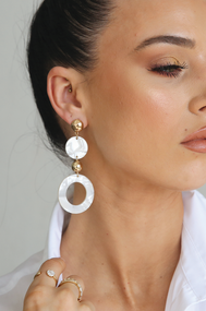 The Ettika Circle White Drop Earrings