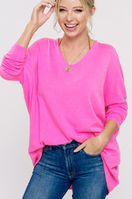 The Bree Sweater- Hot Pink