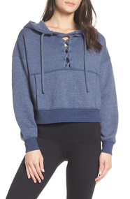 Free People Believer Hoodie Sweatshirt- Navy