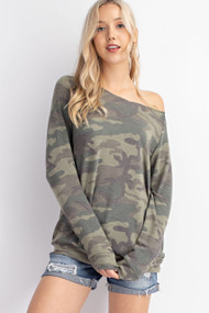 The Camo Off The Shoulder Sweatshirt
