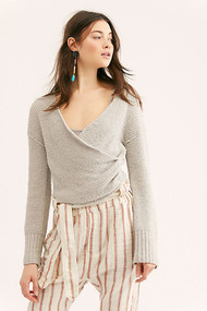 Free People Sensual Wrap Sweater- Grey