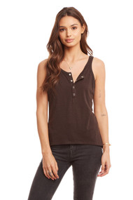 Chaser Hi-Lo Henley Baby Tank- Black