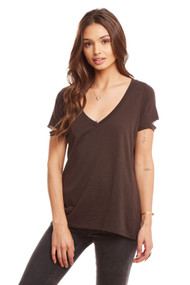 Chaser Vented Sleeve Deep V Neck Tee- Black