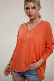 The Bree Sweater- Bright Coral