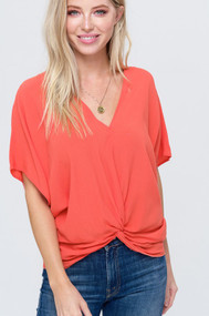 The Beth Top- Coral