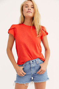 Free People Latte Tee-Red Lotus