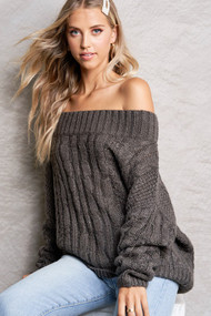 The Heather Sweater-Charcoal