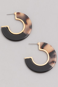The Annie Earrings-Tort and Black Hoops