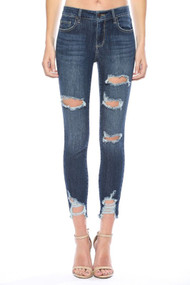 The Mallory Mid Rise Distressed Skinny Jeans