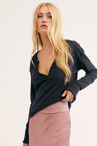 Free People Military Mix Henley- Black