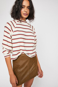 Free People Modern Femme Vegan Suede Skirt- Chestnut